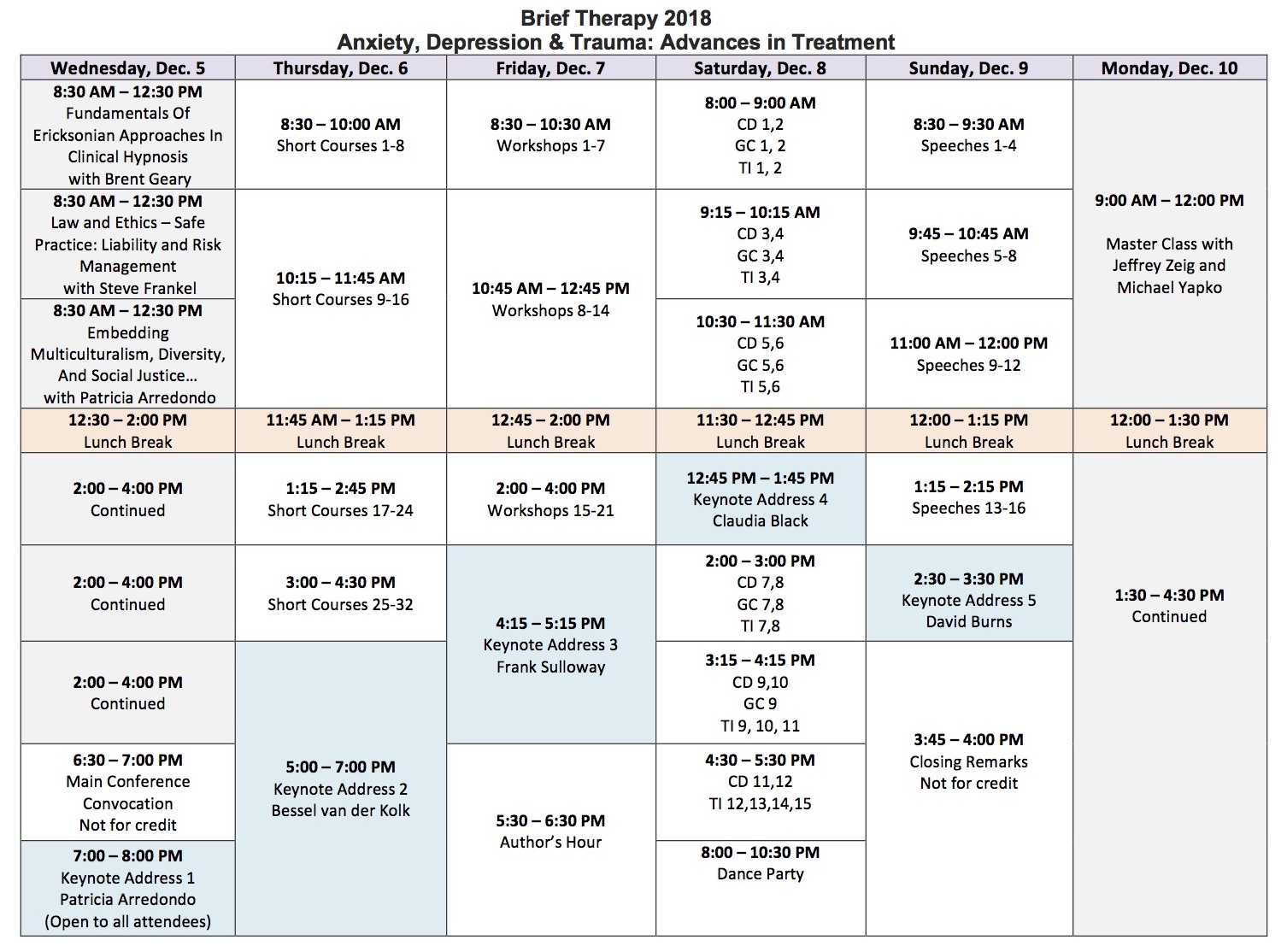 Brief Therapy Schedule at a Glance